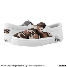 Brown Camouflage Printed Shoes Custom Zipz. #zapatillas #shoes