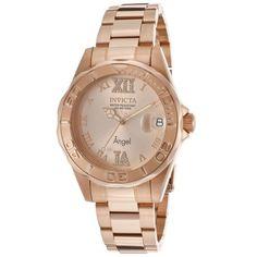 Invicta 14398 Womens Angel Quartz Rose Gold Dial Rose Gold Steel Dive Watch
