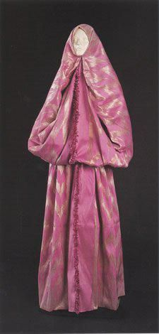 Silk 'çarşaf' from Istanbul.  Outdoor wear; also called: 'bürgü', or 'ferace'.  Late-Ottoman, 19th century, (Sadberk Hanim Museum).