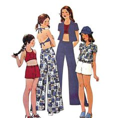 Girls Sewing Pattern Halter Top Pants Shorts Pattern McCalls 4475 Size 7 Vintage 1970s Sewing Pattern UNCUT