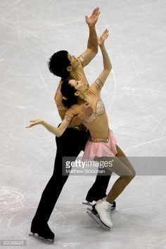 LAKE PLACID, NY - NOVEMBER 14: Dan Zhang and Hoa Zhang of China compete in the Free Skate during the Cancer.Net Skate America at Herb Brooks Arena on November 14, 2009 in Lake Placid, New York. (Photo by Matthew Stockman/Getty Images)