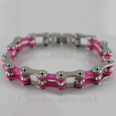 MOTORCYCLE CHAIN BRACELET PINK WITH CRYSTALS