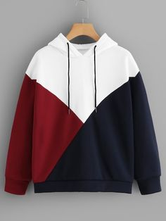 To find out about the Color-block Drawstring Hoodie at SHEIN, part of our latest Sweatshirts ready to shop online today! Hoodie Sweatshirts, Pullover Hoodie, Sweater Hoodie, Hoody, Cute Hoodie, Sweatshirt Outfit, Hoodie Dress, Sweat Style, Cool Hoodies