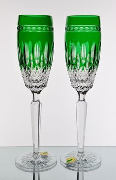 Waterford Clarendon Emerald Green Cut to Clear Crystal Wine Champagne Flutes New