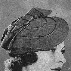 Tilted Beret crochet pattern originally published in Paris Sponsors Crochet, Spool Cotton Co #46.