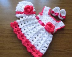 Crochet baby dress hat and ballerina shoes in white and hot pink