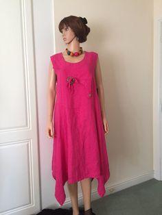 Dress by Sarah Santos of Italy in Fuscia Linen, Asymmetrical, Plus Size