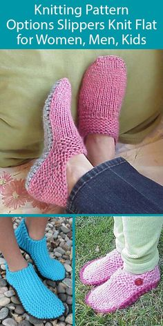 Options Slippers Knit Flat Knitting Patterns Options Slippers Knit Flat Knitting Patterns - Slipper patterns where you make the choices! Knit flat and seamed. Loom Knitting Projects, Easy Knitting, Knitting Socks, Knit Slippers Free Pattern, Knitted Slippers, Free Crochet Slipper Patterns, Crochet Patterns For Beginners, Knitting Patterns Free, Crochet Shoes