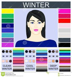 Find Stock Vector Seasonal Color Analysis Palette stock images in HD and millions of other royalty-free stock photos, illustrations and vectors in the Shutterstock collection. Cool Winter, Winter Typ, Clear Winter, Dark Winter, Deep Winter Palette, Deep Winter Colors, Kalter Winter, Cool Skin Tone, Seasonal Color Analysis