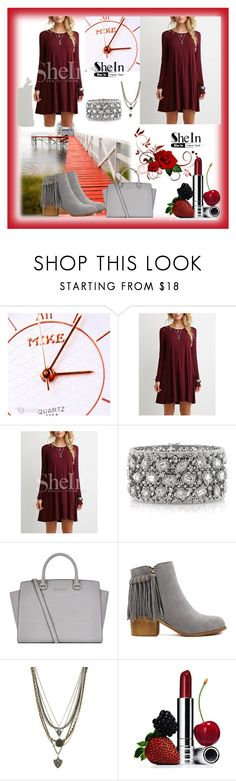 """""""SHEIN RED DRESS!♡"""" by elci-el ❤ liked on Polyvore featuring Mark Broumand, Michael Kors, Ettika and Clinique"""