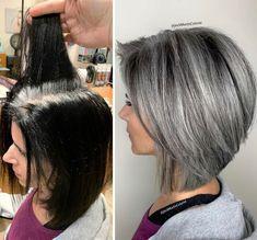 Medium Hair Styles, Curly Hair Styles, Grey Hair Looks, Grey Hair Transformation, Grey Hair Inspiration, Gray Hair Highlights, Silver Grey Hair, Silver Color, Dark Grey Hair