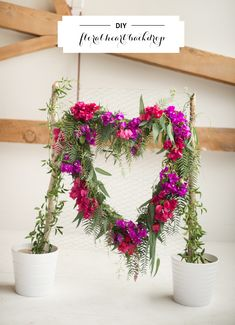 DIY heart floral backdrop | Photo by Lorely Meza for Studio EMP | 100 Layer Cake