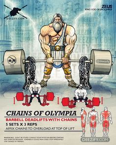 full body exercise: deadlifts with chains - zeus Hero Workouts, Gym Workouts, Fitness Diet, Fitness Motivation, Forma Fitness, Superhero Workout, By Any Means Necessary, Workout Posters, Powerlifting