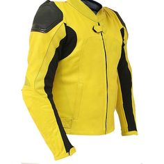 Biker Leather Jacket Yellow and Black