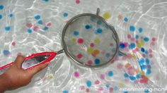 Waterbeads at bathtub and a fishing game. so much fun for kids of all ages -- waterbeads in Ziploc w/ edge duct taped?