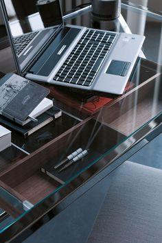 Walnut drawer of the desk under the glass desk top - Decoist