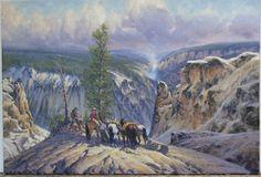 Gary Carter Yellowstone Before Boardwalks and Guard Rails Oil on linen CAA Member since 1982 Gary Carter, Western Artists, Native American Art, Various Artists, Westerns, Oil, Painting, Painting Art, Paintings