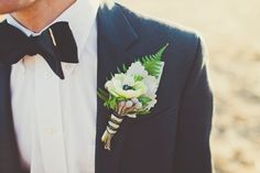 Wizard of Oz Wedding Inspiration / groom's flowers / boutonniere / white anemone and fern / floral styling & design by PANACEA event floral design / Sarah Kathleen Photography