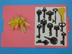 "Key Silhouette Matching - trace keys before cutting them out & filling in the outlines with a black marker ("".)"