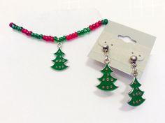 Bracelet earring setChristmas tree by JeriAielloartstore on Etsy