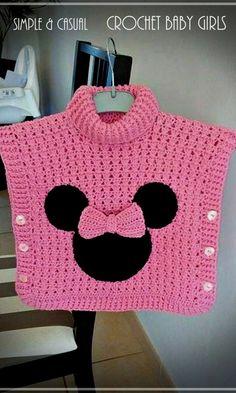 un joli poncho Minnie au crochet – La Grenouille Tricote - knitting for babies Crochet Baby Poncho, Crochet Poncho Patterns, Baby Girl Crochet, Crochet Baby Clothes, Cute Crochet, Crochet For Kids, Baby Knitting Patterns, Knit Crochet, Crochet Hats