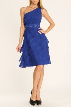 4 Now Fashions Sunny Short One Shoulder Dress In Royal Blue
