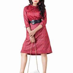 Maroon Raw Silk Western Dress