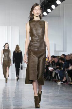 An olive crocodile-printed leather dress from the fall 2015 Jason Wu collection. (Photo: Nowfashion)