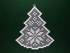 Filet Weihnachtsbaum Fsl-Spitzen-Stickerei-Design