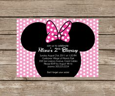 Minnie Mouse Invitation Design - Printable Party Invite. $15.00, via Etsy.