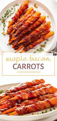 Maple Bacon Carrots are easy Easter treats! The sweetness of maple syrup glazed over the saltiness of the crispy bacon works beautifully with the tender cooked carrot. A fantastic appetizer perfect for sharing with family and friends! Add this to your Easter menu ideas!