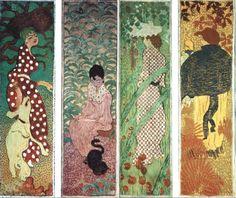 1890-91, Pierre Bonnard, panneau décoratif x4, femmes au jardin
