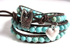 Owl Turquoise and Brown Leather Wrap Bracelet - Gemstone - Beaded Triple Wrap Leather Bracelet by The CamBrayah Collection