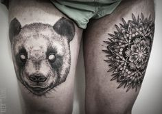 Alex Tabuns-cute panda and bamboo mandala