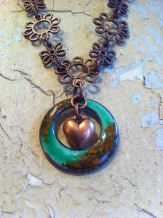 Copper Daisy Chain Necklace with Kelly Green Hoop & Heart  on Etsy, $42.00