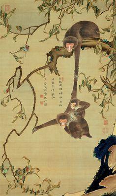 Monkeys and Peach Tree. Painted by Ito Jakuchu, Inscription by Hakujun Shoko, 18th century