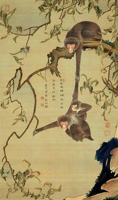 Monkeys and Peach Tree. Painted by Ito Jakuchu, Inscription by Hakujun Shoko, 18th century