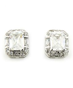 Take a look at this Sterling Silver Sparkle Rectangle Stud Earrings by Alljoy on #zulily today!