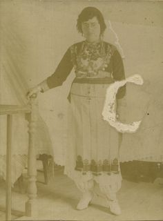 Crete 1921, young woman with costume of Anogia