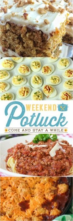 Featured recipes at Weekend Potluck include: Classic Deviled Eggs, Homemade Meat Sauce, Chili Tater Tot Casserole, and Pineapple Pecan Carrot Cake. www.thecountrycook.net