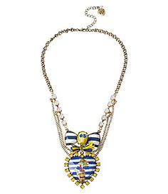 Betsey Johnson PinUp Girl and Skull Heart Frontal Necklace #Dillards
