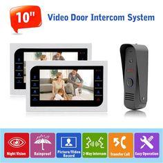 "305.36$  Buy now - http://ali8us.worldwells.pw/go.php?t=32787076173 - ""1v2 Video Door Phone Intercom Doorbell Camera System Indoor Monitor 10"""" CCTV Security Camera Door Access Control 1200TVL Camera"""