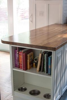 soooooooooo adding a shelf to the end of my kitchen island! no dog ...