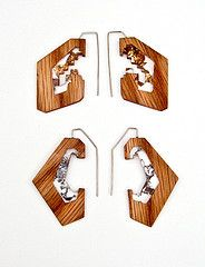 Resin and wood earrings
