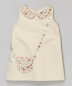 La Fleur & Le Papillon Beige Floral Purse A-Line Dress - Infant & Toddler | zulily