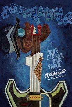 Sinestesia: som, tato e imagem - Cartaz com cordas de guitarra