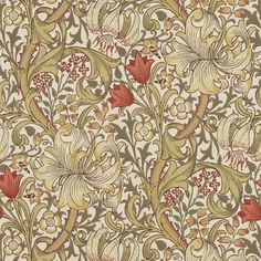 Golden Lily wallpaper, in colour Bicuit / Brick, from Morris & Co's The Craftsman collection. To celebrate the eminent Morris & Co. design archive and one William Morris Wallpaper, William Morris Art, Morris Wallpapers, Art Deco, Art Nouveau, Craftsman Wallpaper, Lily Wallpaper, Wallpaper Online, Wallpaper Decor
