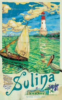 Sulina, Free Port, The Danube European Committee (C.E.D.), Danube delta, Lighthouse,  Romanian Vintage Poster.