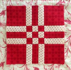 "Dear Jane in red and white,  4.5"" block by Thimble Stitch: August 2014"