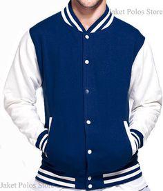 Jaket Baseball / Varsity Kancing Polos Cotton Fleece Dongker - Putih
